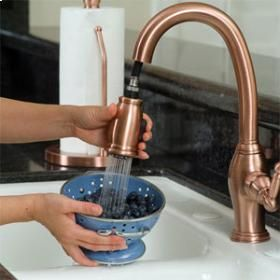 Polished Copper Pull Down Kitchen Faucet With Images Rose Gold