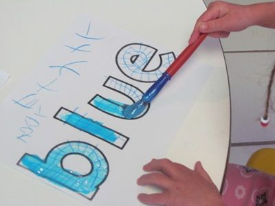A great activity for children to visually see the written color and