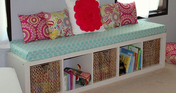 This would be great for the kids room. shelf turned on it's