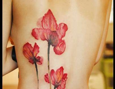 watercolor flower tattoos, water color tattoos and watercolor poppy tattoo. tattoo tattoos