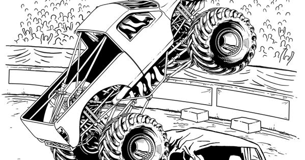 Monster Jam Crushing Cars Kids Coloring Pages