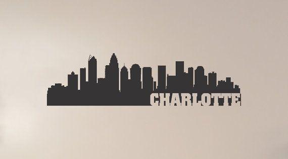 Charlotte north carolina city skyline interior wall decal for Tattoo shops in winston salem nc