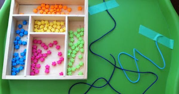 Beading tray, fine motor skills...use bead necklace toy we have