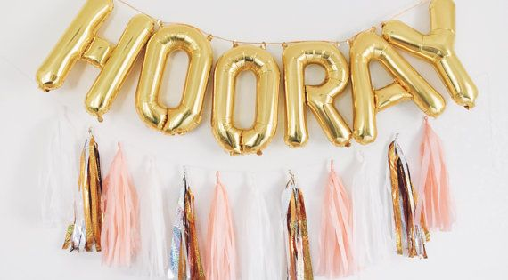 HOORAY gold letter balloon banner SETS Lightweight and can be easily displayed