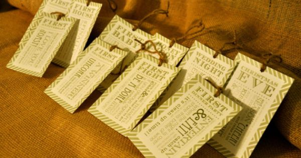 Set of 6 - Bridal Shower Wine Basket Gift Tags - Striped Tags