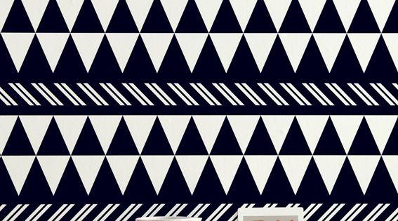 Black triangle half wall pattern