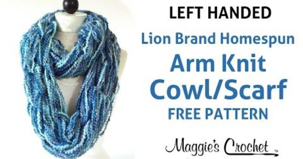 Knitting Left Handed Yarn Over : Arm knit cowl infinity scarf with lion brand homespun yarn