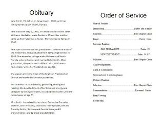 How To Write A Funeral Program Obituary Template Funeral