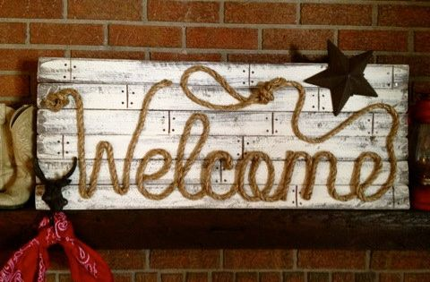 WELCOME Western Wood Rope Sign Decor Country Rustic ...