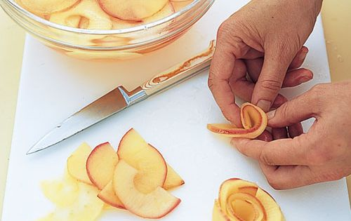 Martha's Apple Roses 2. Transfer to syrup; shake pan to coat slices.