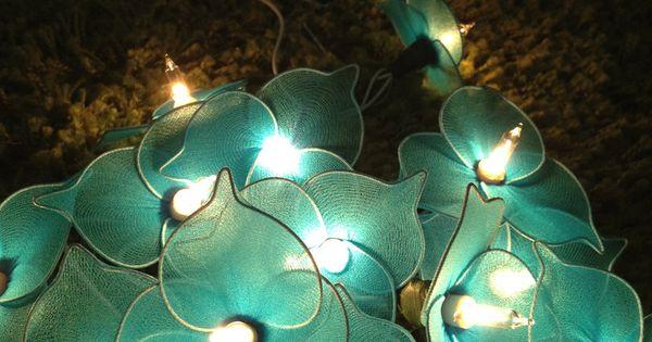 Blue Colors Nylon Flower Wedding/Party String Lights 20 Lanterns. USD 8.95, via Etsy. One Day
