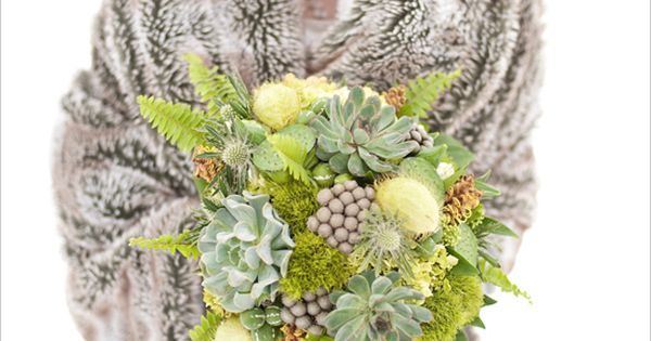 winter wedding succulent bouquet