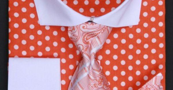 Avanti Uomo Orange Pollka Dot Patterned Dress Shirt with matching Tie, Handkerchief and Cufflinks.