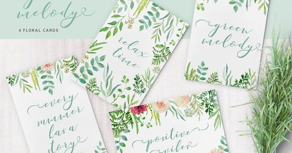 Green melody – Green melody watercolor floral collection. 32 floral elements, 10 arrangements, 8 wreaths, 4 cards and 2 patterns