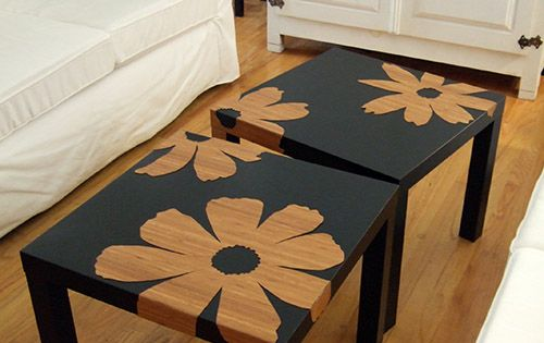 IKEA Hack: Bamboo veneer flowers + Ikea Lack tables