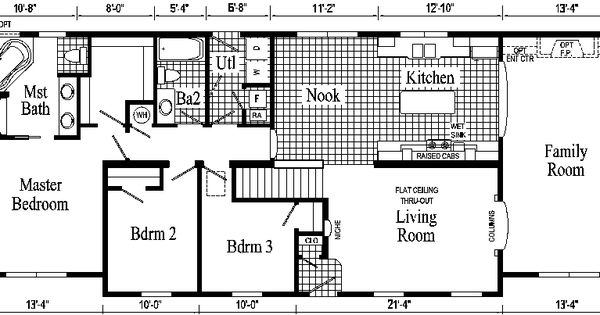 Open floor small home plans oakland ranch style modular for Mi homes ranch floor plans