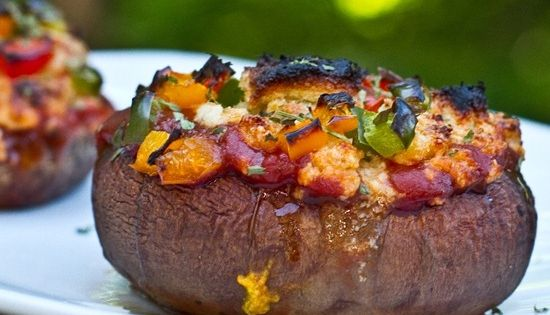 Easy Stuffed Portabella Pizza in a Cashew Basil Cheese Sauce. Vegan, Gluten