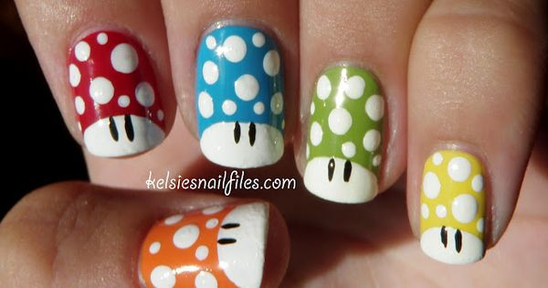 Another geeky nail design are these awesome Super Mario nails. If you