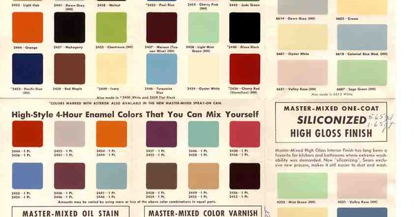 1950s And 60s Paint Colors From Sears Classic Harmony