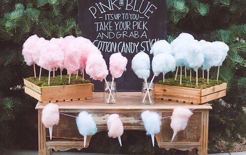 Blue and pink candy floss looks great and allows people to guess