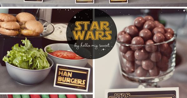 Star Wars party food.. Great food display table for a Star Wars