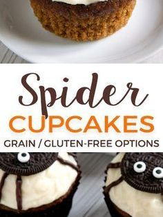 Easy To Make Spider Cupcakes For Halloween With A Pumpkin Cupcake