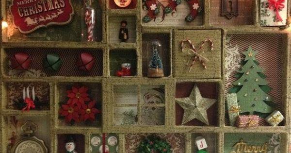 Christmas Themed Printers Tray Christmas Shadow Boxes Miniature Christmas Printers Tray