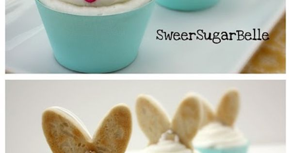 Instructions on how to make Bunny Ear Cookie Cupcake Toppers - Great