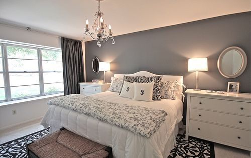 Grey Bedroom Ideas: accent wall color.