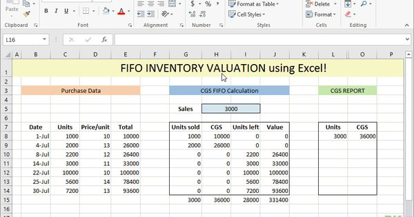 Fifo Inventory Valuation In Excel Using Data Tables