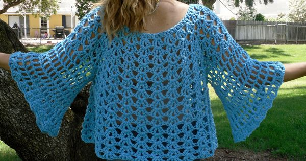 Crochet Sweater Top Pattern: The Angel Sleeve Cover-Up ...