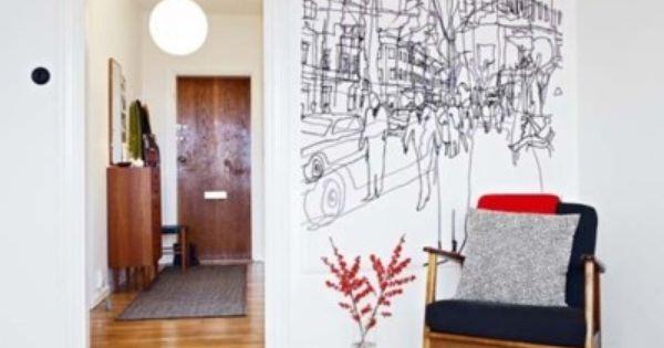 Scribbles On Walls Scandinavian Wallpaper Apartment Wall Decor Contemporary Apartment Decor