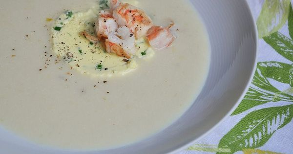 Chilled Corn Soup with Garlic Custard and Shrimp by Turntable Kitchen ...