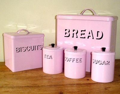 pink kitchen canister set shabby chic pink enamel bread bin set oh so girly if i 21281