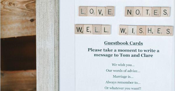 wedding guest book ideas using scrabble tiles