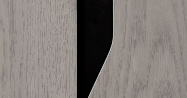 Recessed Pull Detail: Carved Wood and Blackened Steel Plate  TITAN Credenza by ...
