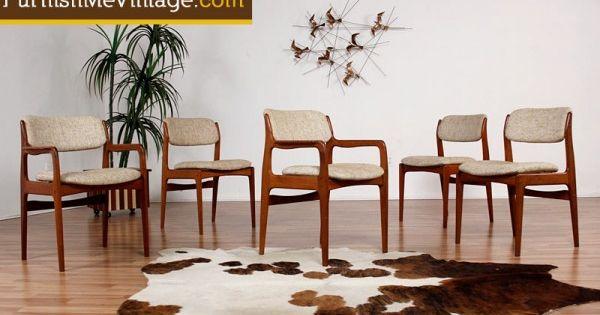 5 Vintage Benny Linden Teak Dining Chairs Rosewood