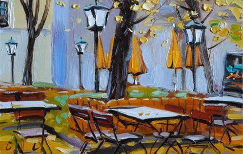 Autumn cafe original fine art for sale elena for Original fine art for sale
