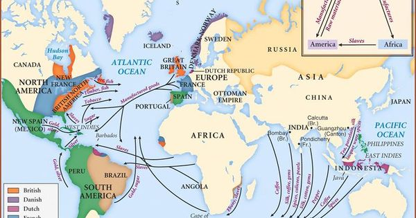 Map of colonial era trade routes for chapter 7 Landmark ...