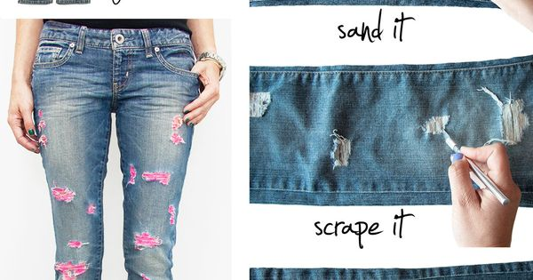 DIY Fashion Idea ~Pink Ripped Jeans heartit