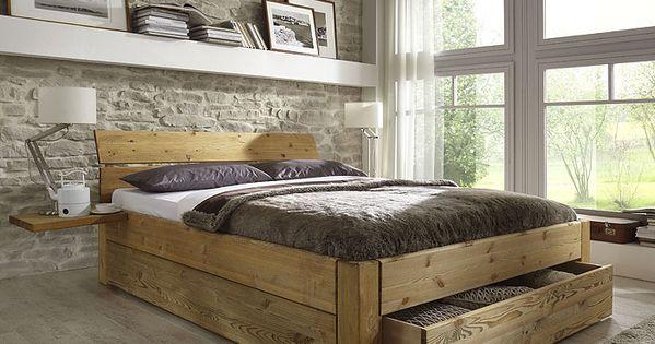 bett mit schubladen aus massivholz kieferm bel als einzelbett doppelbett teilweise auch ohne. Black Bedroom Furniture Sets. Home Design Ideas