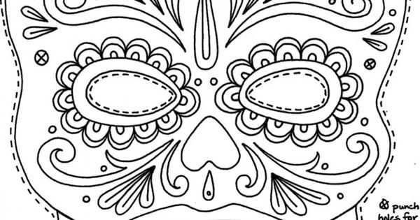 Day Of The Dead Masks Coloring Pages – Coloring Number ...