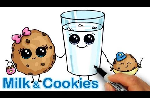 How To Draw Cartoon Milk And Chocolate Chip Cookies Cute