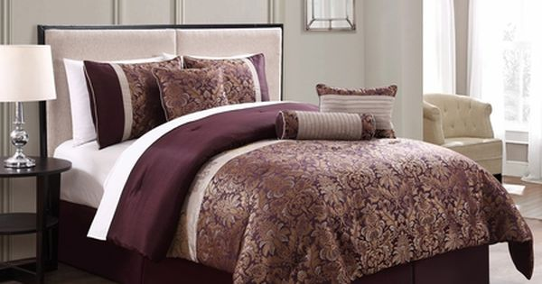 7 Piece Milano Jacquard Purple Gold Comforter Set 98 Comforter