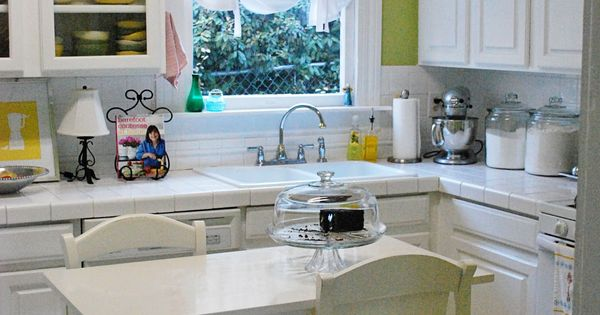 White kitchen appliances with white cabinets... doesn't look so bad...
