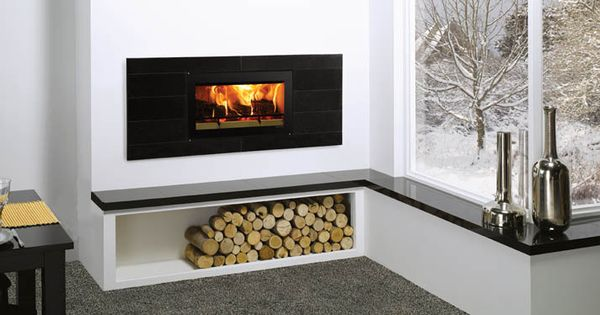 Stovax Wood Heater On Raised Hearth With Practical Wood