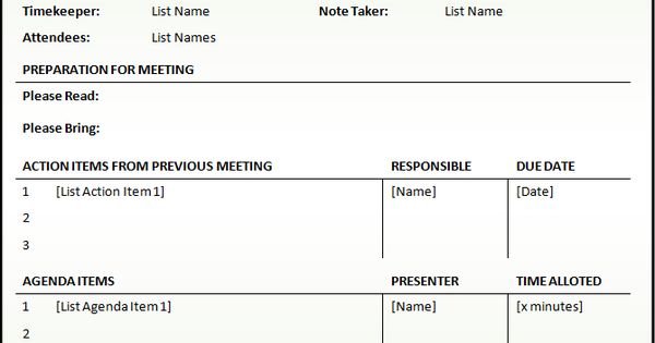 attractive meeting agendas