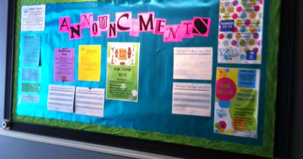 Ideas For Announcement Boards : Kidmin bulletin board and announcements boards