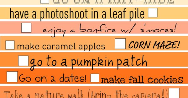 fall bucket list... so perfect I LOVE FALL