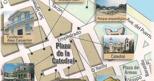 Mapa de La Plaza de la Catedral en la Habana Vieja con ...